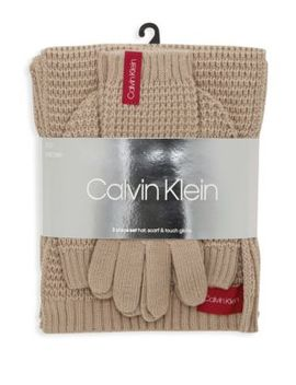 Three Piece Waffle Knit Hat Scarf & Touch Glove Set by Calvin Klein