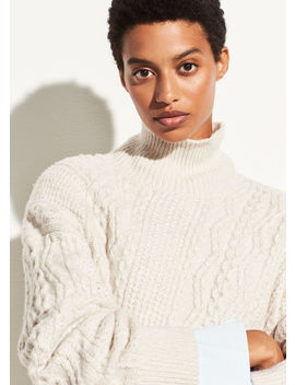 Diagonal Cable Knit Wool Turtleneck by Vince