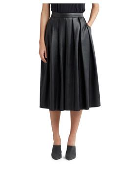 Pleated Faux Leather Midi Skirt by Hudson