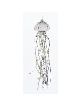 Kurt Adler Silver On White Jellyfish  Holiday Ornament Glass 12 Inches by Kurt Adler