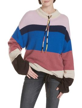 Stripe Mock Neck Cashmere Pullover by Theory