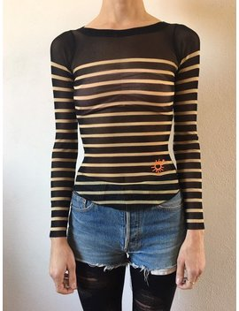 90's Jean Paul Gaultier Sailor Striped Black And White Club Kid Top by Etsy