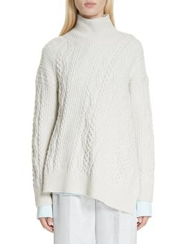 Diagonal Cable Wool Blend Turtleneck Sweater by Vince