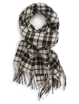 Embroidered Bear Plaid Wool Blend Scarf by Polo Ralph Lauren