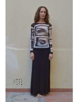90s Jean Paul Gaultier Eye Photograph Club Kid Mesh Top And Maxi Skirt by Etsy