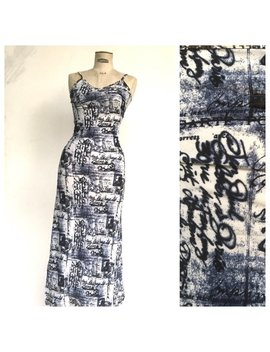 Jean Paul Gaultier 1990 Postcards Callygraphic Maxi Stretch Dress French Vintage by Etsy