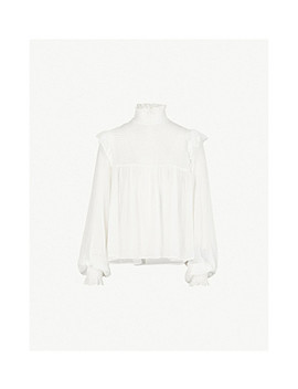 Ruffle Trimmed Silk Blouse by The Kooples