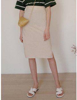 Linen Slit Skirt Beige by Ruhm