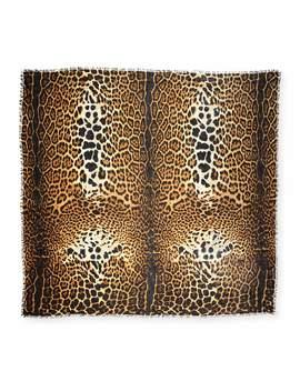 Leopard Pattern Fringe Scarf by Saint Laurent