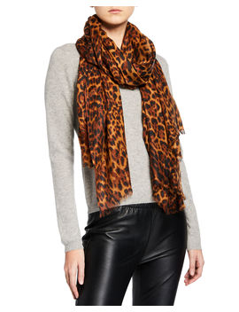 Lightweight Cashmere Leopard Print Scarf by Sofia Cashmere