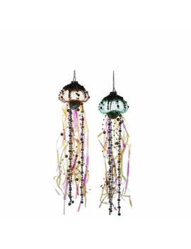 Coastal Beaded Jellyfish Glass And Ribbons Christmas Holiday Ornaments Set Of 2 by Kurt Adler