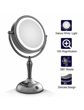 Mirrormore Led Makeup Mirror – Lighted Vanity Mirror With 1x/10x Magnifying, 7.5 Inch Double Sided Mirror With Stand Black Makeup Mirror by Mirrormore