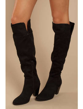 Prism Black Suede Knee High Boots by Tobi