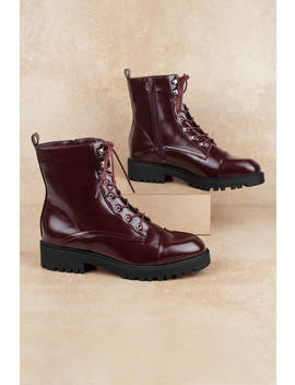 Gigi Red Patent Leather Combat Boots by Tobi