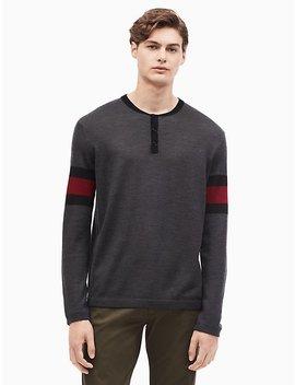 Merino Wool Blend Colorblock Henley Shirt by Calvin Klein