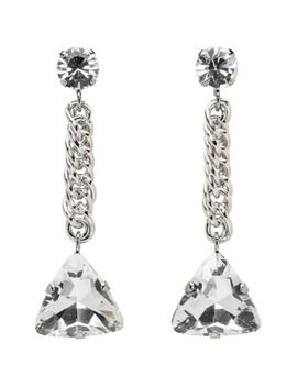 Silver Short Drop Earrings by Christopher Kane
