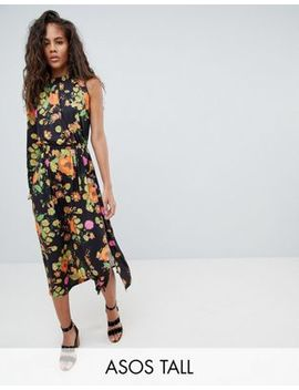 Asos Design Tall One Shoulder Balloon Sleeve Midi Dress In Floral Print by Asos Design