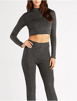 Metallic Ribbed Crop Top by Charlotte Russe