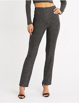 Metallic Ribbed Flared Pants by Charlotte Russe