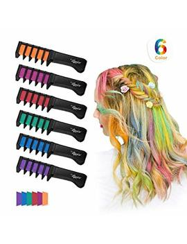Maydear Temporary Hair Chalk Comb Non Toxic Washable Hair Color Comb For Hair Dye Safe For Kids For Party Cosplay Diy (6 Colors) by Maydear