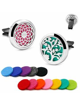 2 Pcs Roy Aroma 30mm Car Aromatherapy Essential Oil Diffuser Stainless Steel Locket Air Freshener With Vent Clip 12 Felt Pads by Roy Aroma