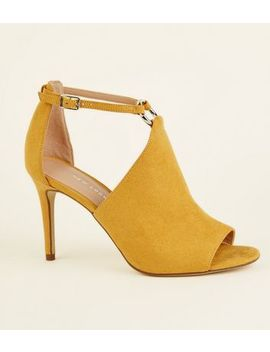 Mustard Suedette Peep Toe Ring Detail Heels by New Look