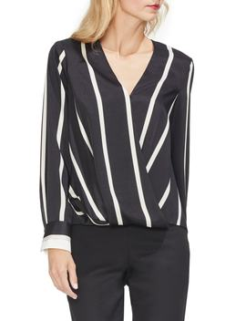 Stripe Faux Wrap Top by Vince Camuto