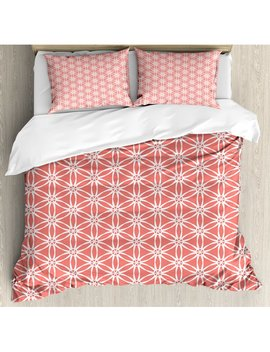 Ambesonne Coral Simplistic Linear Sunflower Tied Bound Crochet Damask Floral Lace Tiles Motif Duvet Cover Set by Ambesonne