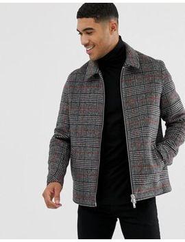 Asos Design Wool Mix Zip Through Jacket In Gray And Orange Check by Asos Design