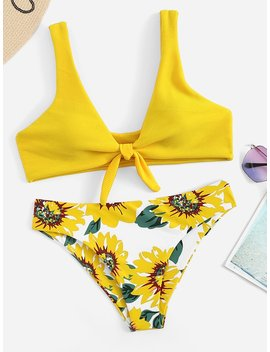 Knot Front Floral Pattern Top  With Match Bikini by Sheinside