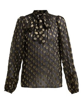 Polka Dot Fil Coupé Silk Blend Blouse by Dolce & Gabbana