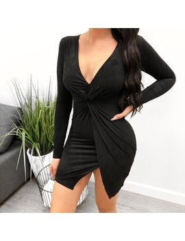 Anabelle Suede Dress (Black) by Laura's Boutique