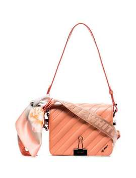 Pink Quilted Bulldog Clip Leather Shoulder Bag by Off White