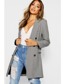Dogtooth Double Breasted Blazer by Boohoo