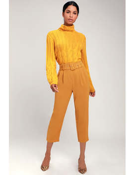 Power Moves Mustard Yellow Belted Trouser Pants by Lulus