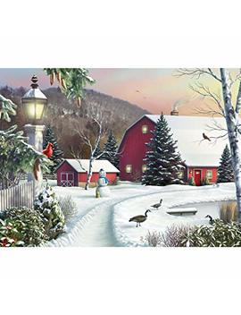 Bits And Pieces   500 Piece Jigsaw Puzzle   In The Still Light Of Dawn   Snowy Barn With Birds Winter Landscape Puzzle   By Artist Alan Giana   500 Pc Jigsaw by Bits And Pieces