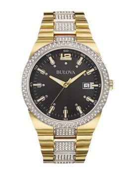 Men's Crystal Analog Quartz Crystal Accented Two Tone Bracelet Watch, 43mm by Bulova