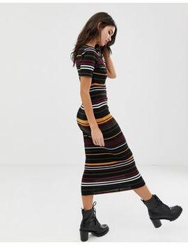Asos Design Stripe Rib Midi Bodycon Dress With V Neck by Asos Design