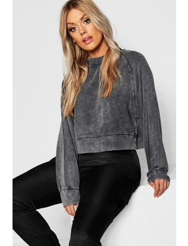 Plus Washed High Neck Raglan Sweat by Boohoo