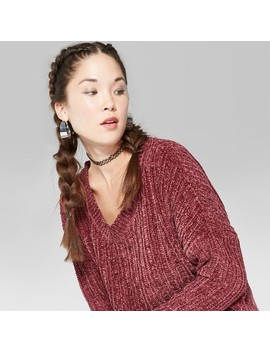 Women's Chenille V Neck Pullover   Wild Fable™ Windsor Wine by Wild Fable
