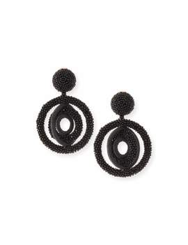 Triple Beaded Clip On Hoop Earrings by Oscar De La Renta