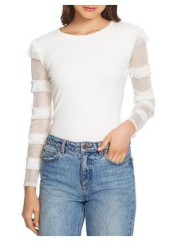 Ruffled Mesh Sleeve Top by 1.State