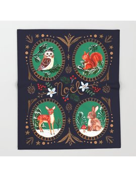 Victorian Woodland Christmas Animals Throw Blanket by