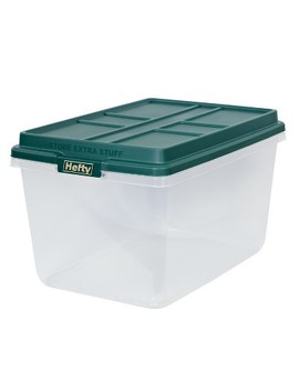 Hefty 72qt Ornament Box With Dividers   Clear With Green Lid And Latches by Hefty