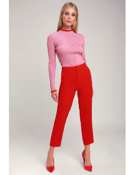 Brooks Red Cropped Trouser Pants by Lulus