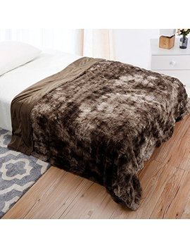 Langria Luxury Super Soft Faux Fur Fleece Throw Blanket Cozy Warm Breathable Lightweight And Machine Washable Dyed Fabric For Winter – Decorative Furry Throw For Couch Bed (60x80, Twin Size Brown) by Langria