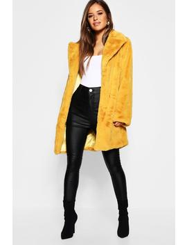 Petite Revere Collar Faux Fur Coat by Boohoo