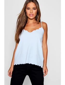 Petite Scallop Edge Cami Top by Boohoo