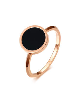 Fashion Round Black Enamel Women Ring Rose Gold Stainless Steel Size 5 8 Jewelry by Suo Huan
