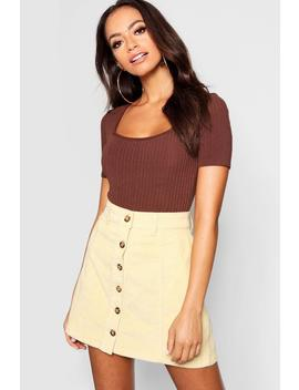 Mock Horn Button Through Cord Skirt by Boohoo